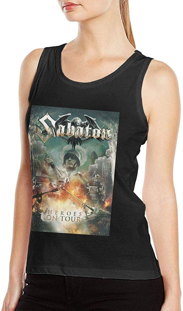 CarrEdwardie Sabaton Women's Sexy Tank Tops Funny Vest T Shirts Black