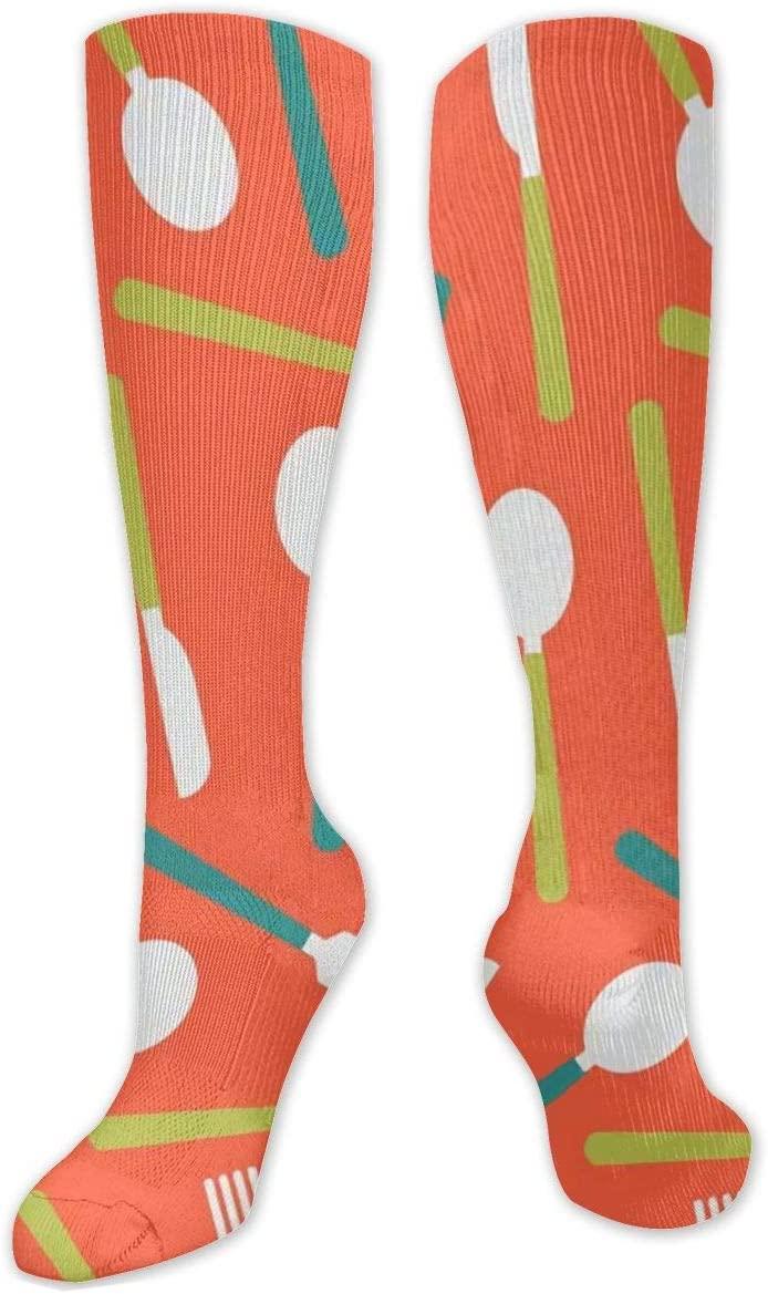 Compression Sock for Women & Men,Cutlery Over Red CasualLongKneeHighTubeSocksforRunnning,SoccerAthleticSports,Travel-50cm