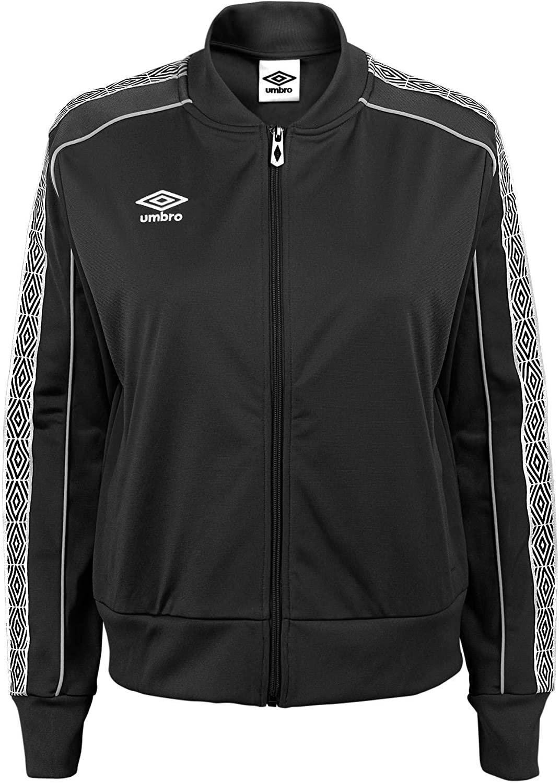 Umbro Women's Cropped Track Jacket, Black Beauty/White