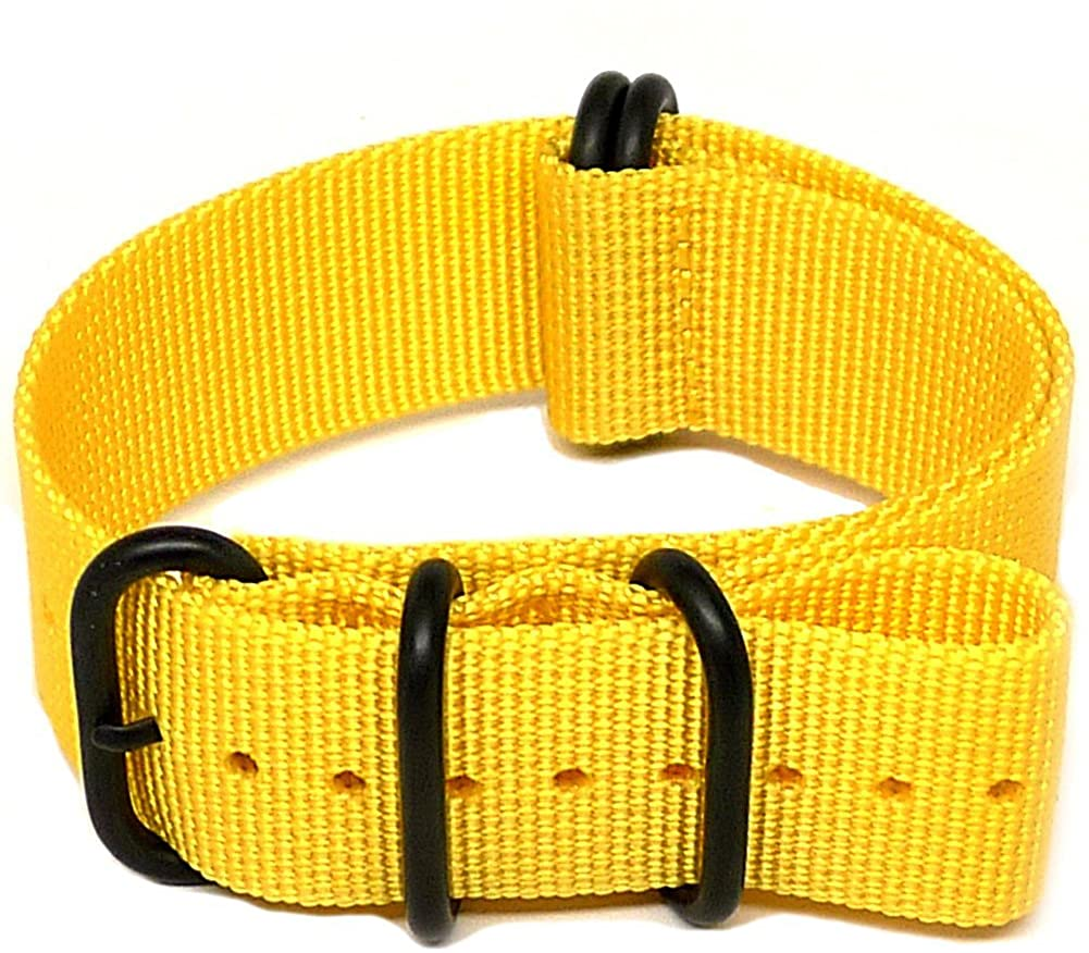 DaLuca Ballistic Nylon Military Watch Strap - Yellow (PVD Buckle) : 26mm