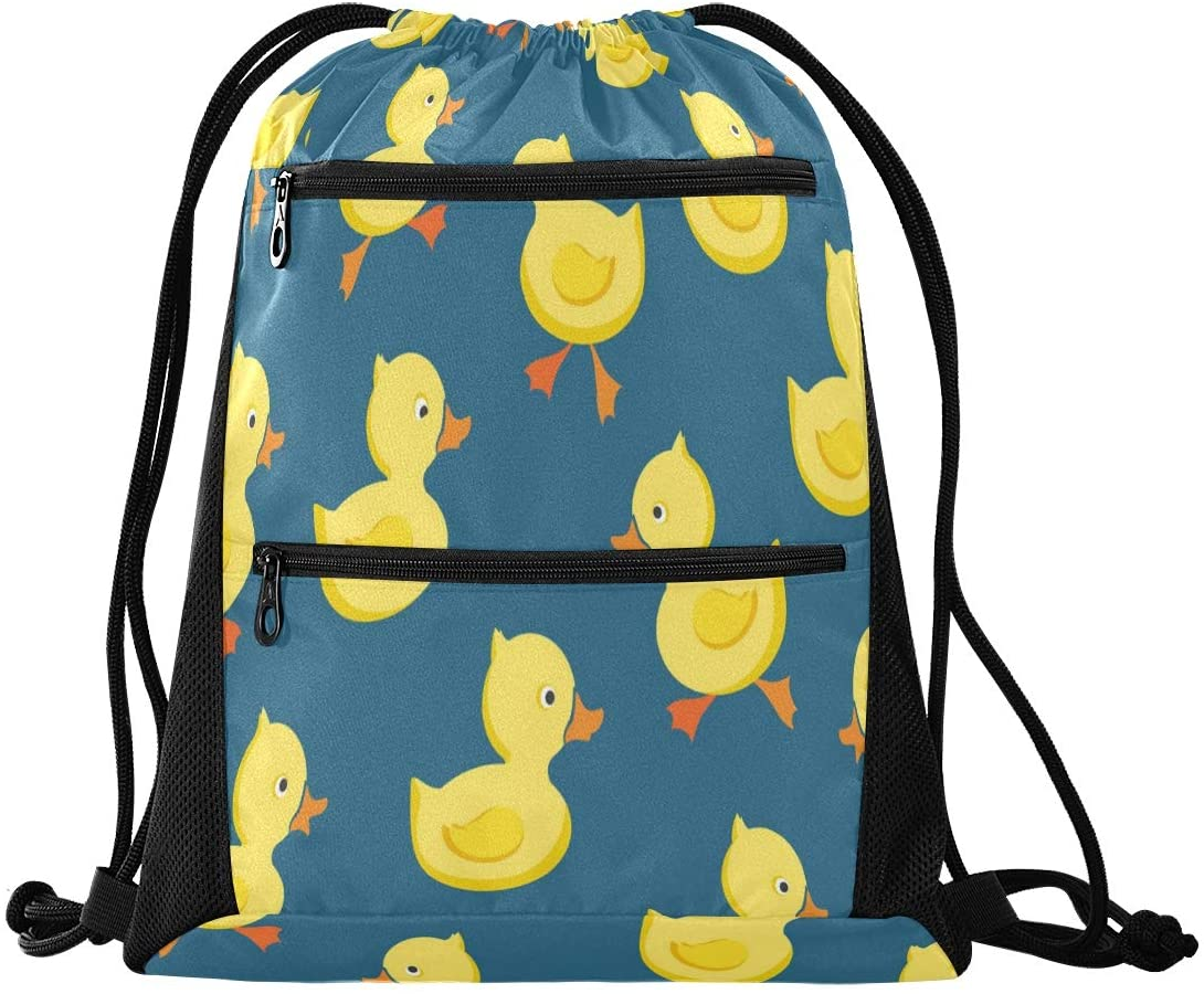 Drawstring Backpack Sport Gym Sackpack - Yellow Cheerful Ducklings Drawstring Bag with Zipper Pocket Gym Bag Sackpack Sport Backpack for Shopping Camping