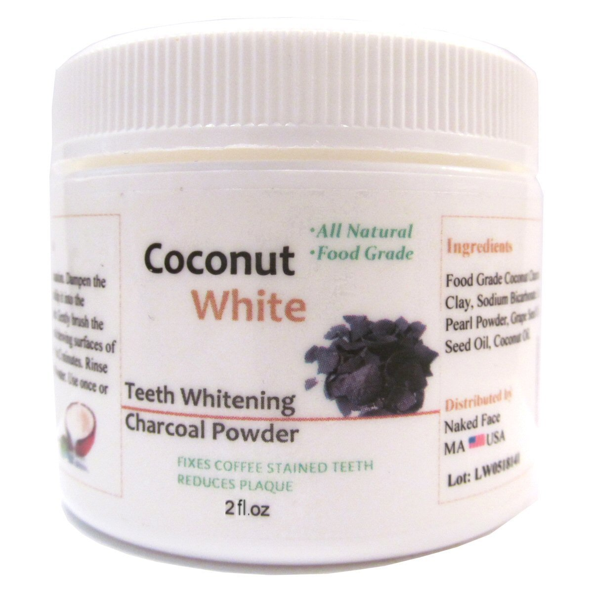 CoconutWhite Natural Teeth Whitening Charcoal Powder with Organic Coconut Activated Charcoal for Healthy Whiter Teeth