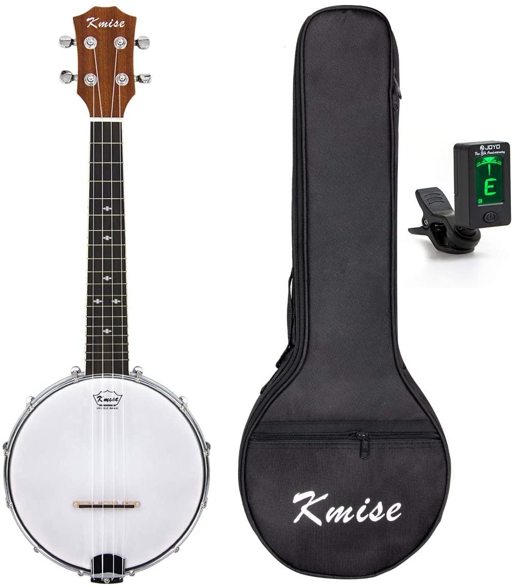 Kmise UV10406BL 4 String Banjo Ukulele Banjo lele Uke Concert 23 Inch Size Sapele with Bag Tuner