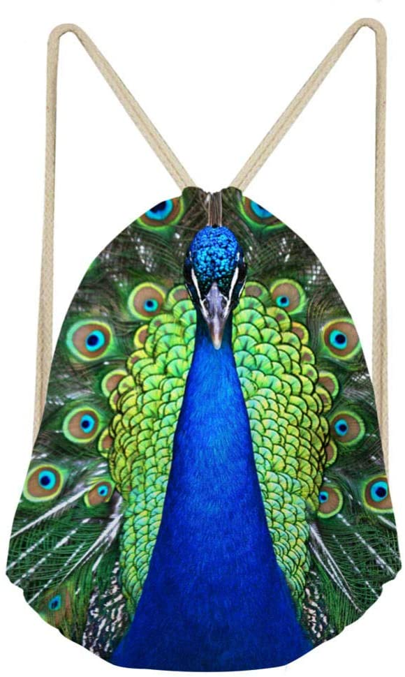DCPPCPD Modern Simple Animal Blue Green Peacock Drawstring Backpack 3D Print Gifts Bag for Kids Durable String Backpack Cinch Sackpack Light Weight