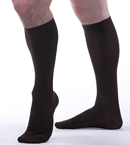 Allegro Men's 15-20 mmHg Essential 103 Ribbed Support Socks (Brown) Medium