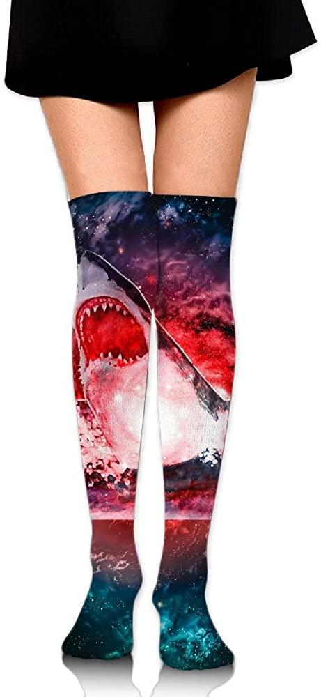 Women's Knee High Socks Galaxy Shark Winter Warm Thigh High Long Stockings