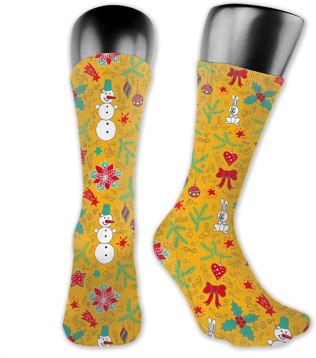 Christmas Snowman Unisex Outdoor Long Socks Sport Athletic Crew Socks Stockings