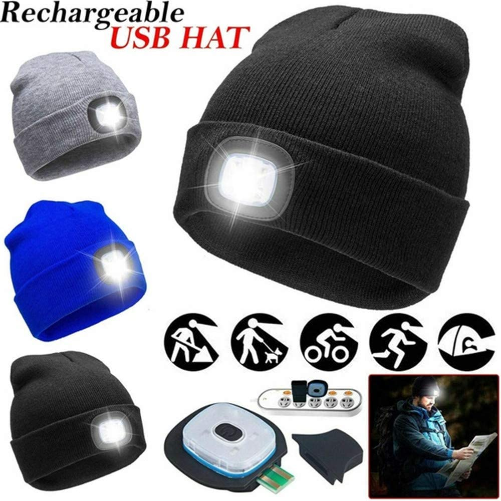 DragonPad LED Light Up Beanie Cap - USB Rechargeable 4LED Headlamp Hat Unisex Winter Warmer Knit Hat for Outdoor Climbing Camping Men Women Winter Led Knit Hatdark Gray USB Charger Style