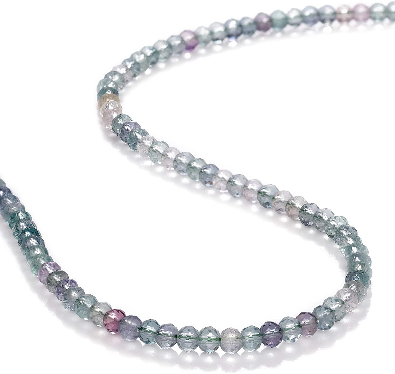 NirvanaIN Fluorite Stone Necklace, Multi-Colored FLUORITE Beads Necklace, Healing Crystal Necklace, Crystal Jewelry, Sparkling Fluorite Jewelry, Gift