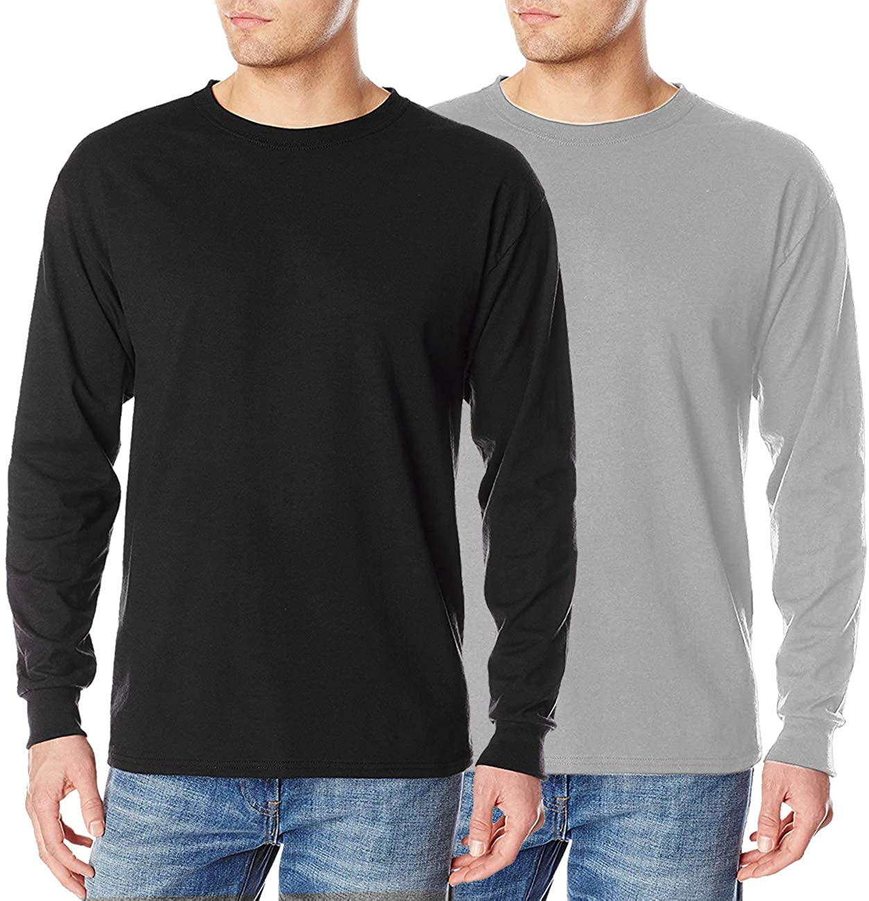 COOFANDY Men's 2 Pack Long Sleeve Shirts Casual Slim Fit T-Shirt Crew Neck Cotton Performance Top