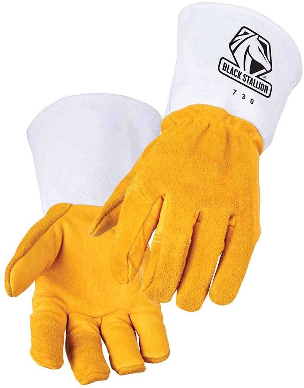 Black Stallion 730 Maximus Premium Grain/Split Cowhide Stick Welding Gloves, XL