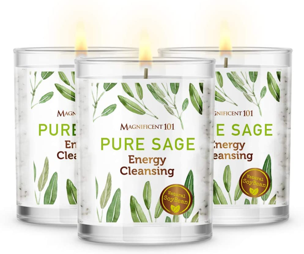 MAGNIFICENT101 Pure Sage Smudge Set of 3 Candles for House Energy Cleansing, Banish Negative Energy I Purification and Chakra Healing - Natural Soy Wax Candles for Aromatherapy (Pure Sage)