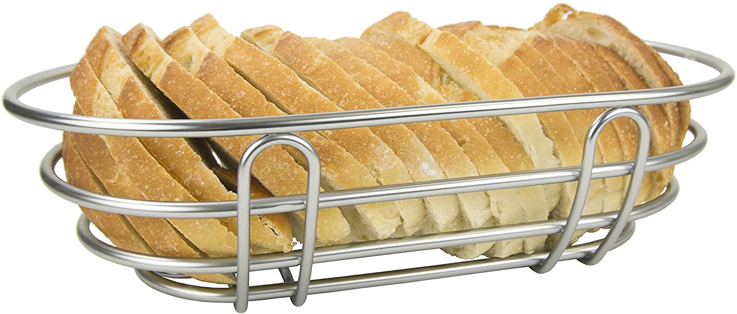 Home Basics Simplicity Collection, Satin Nickel Bread Basket, One Size