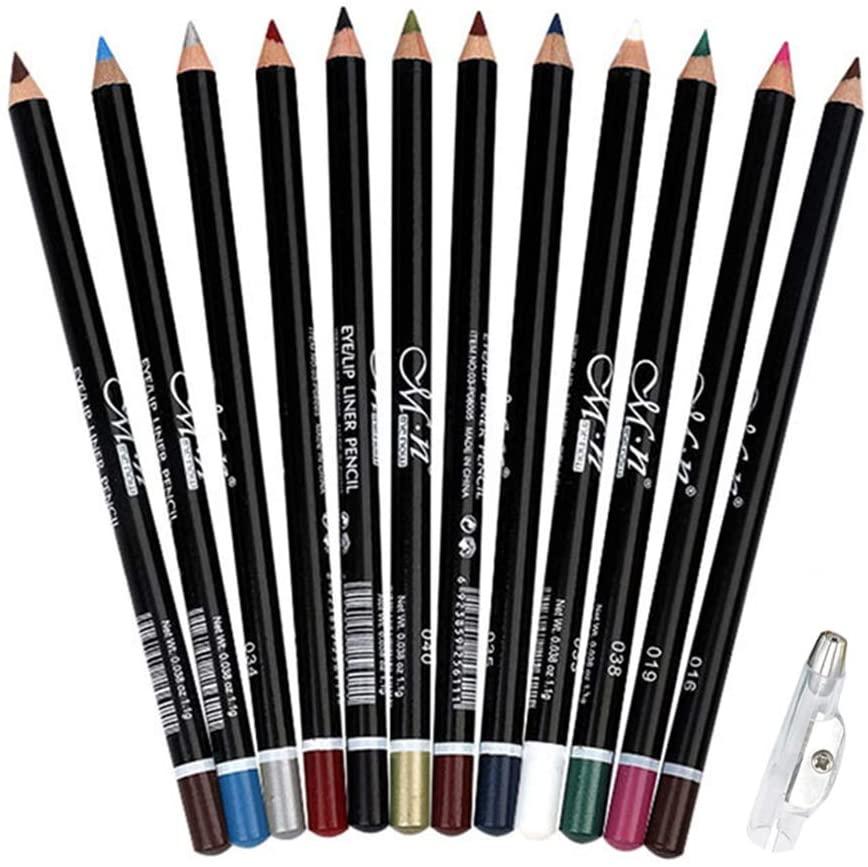 DC-BEAUTIFUL 12Pcs Lot Set 12 Colors Eyeliner Pencil Waterproof Eyebrow Pencil Cosmetics with a Pencil Sharpener