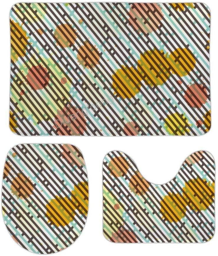 Bathroom Bath Mat 3 Piece Set Diagonal Stripes Non-Slip Pedestal Rug + Lid Toilet Cover + Bath Mat Set