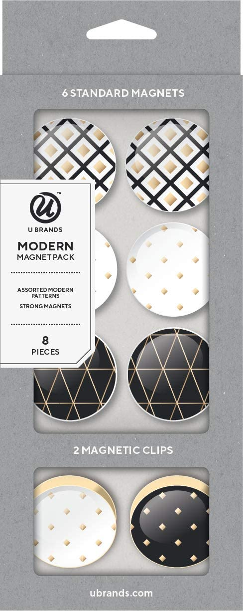 U Brands Fashion Magnets, Black, White and Gold, 8 Count