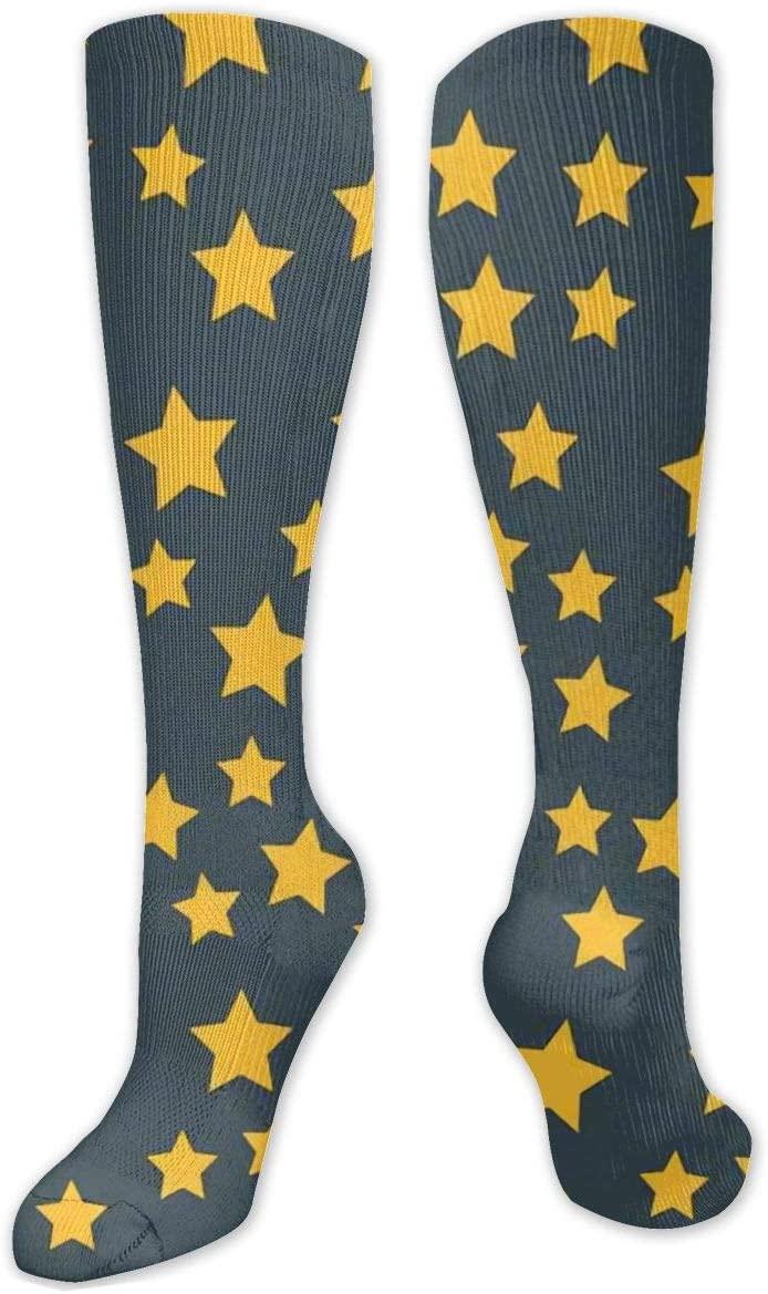 Compression Sock for Women & Men,Shiny Star Pointed Pentagonal Gold CasualLongKneeHighTubeSocksforRunnning,SoccerAthleticSports,Travel-50cm