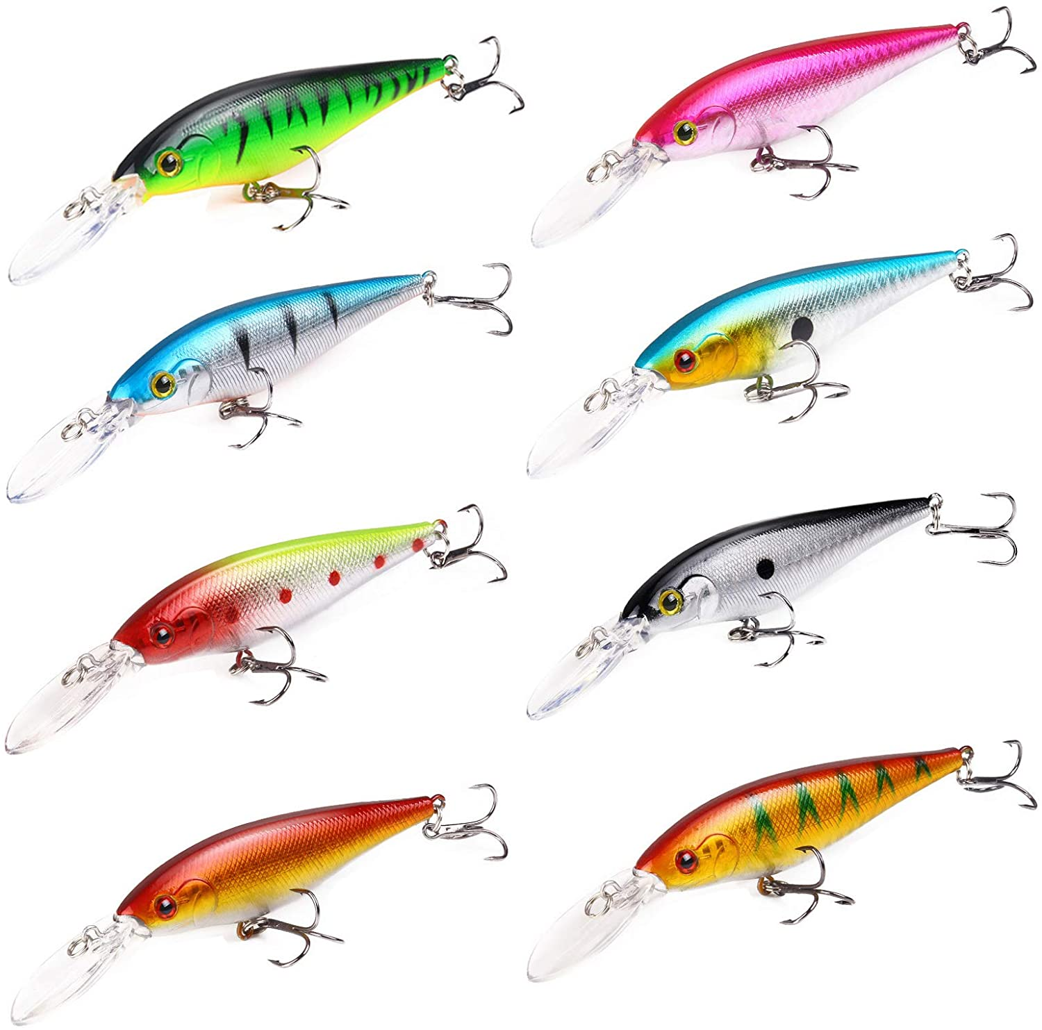 FANGULU 8 PCS The Bionic Bait Plastic Bionic Double Hook Bait 4.33 Inches /9.5g Bionic Colorful Double Hook Bait Applicable to Fresh Water Salt Water All Kinds of Water Depth Carp