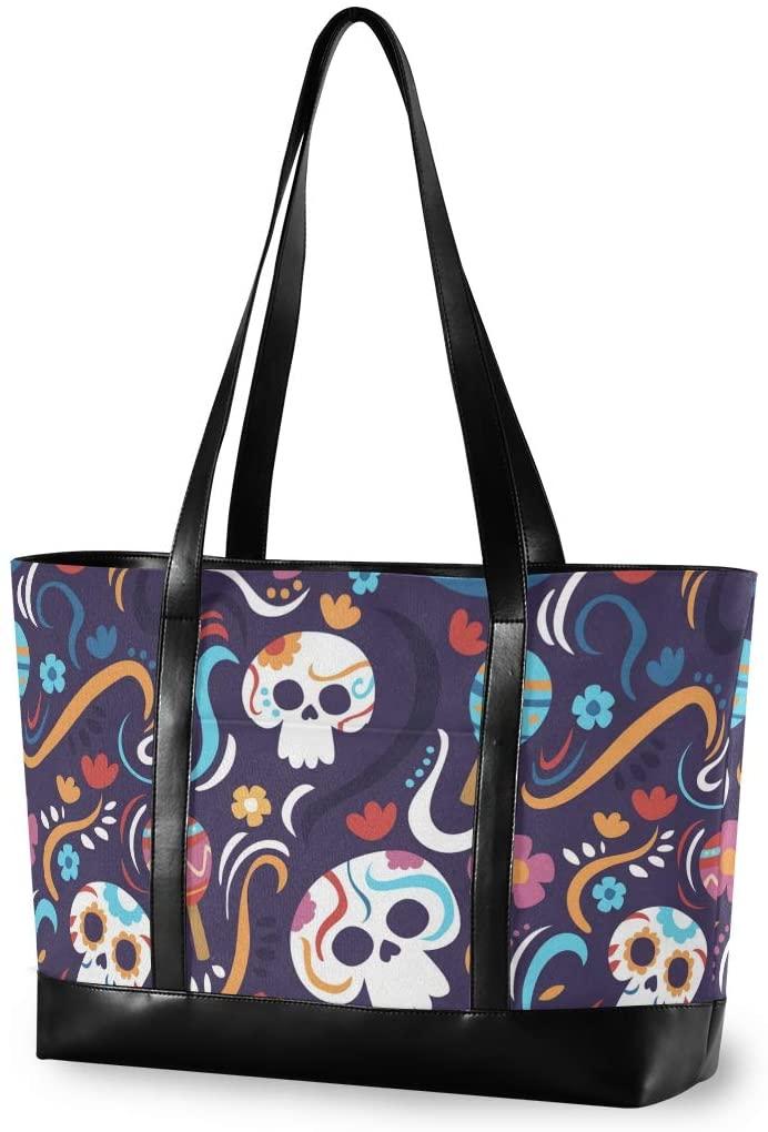 Halloween Large Woman Laptop Tote Bag - Halloween Skull Flower Ghost Canvas Shoulder Tote Bag Fit 15.6 Inch Computer Handbag for Trekking Shopping