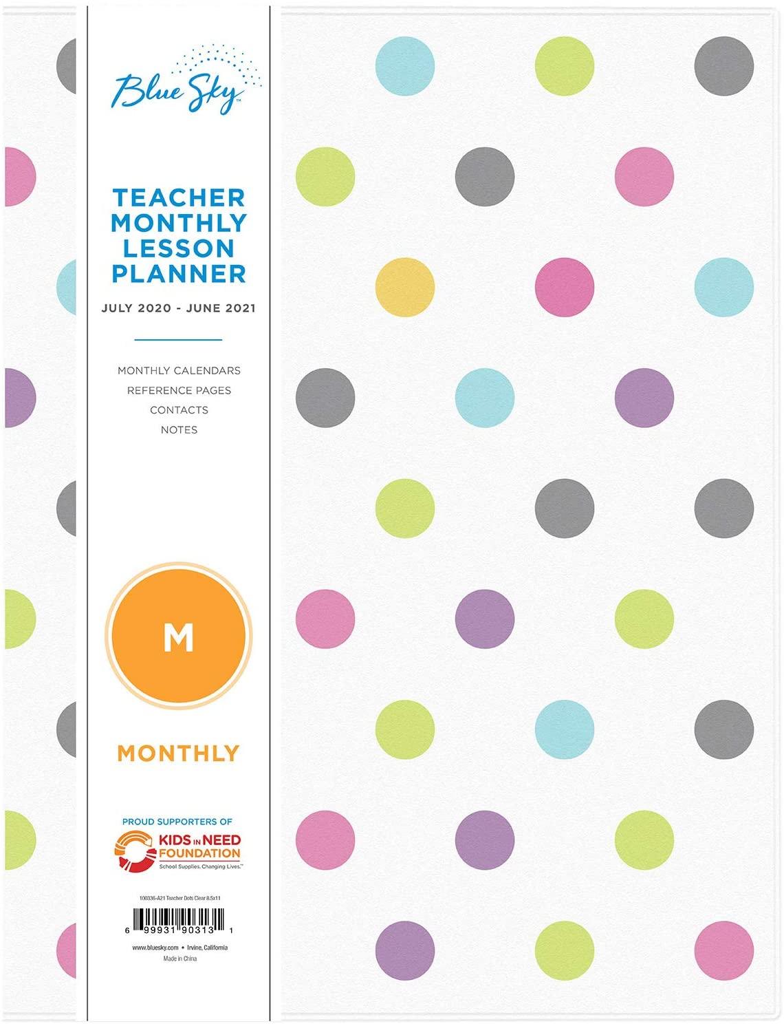Blue Sky 2020-2021 Academic Year Teachers Monthly Lesson Planner, Stapled, Flexible Cover 8.5