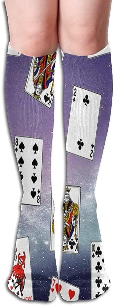 LzVong Full Poker Card Women's Long Knee High Socks Dresses Casual Stockings