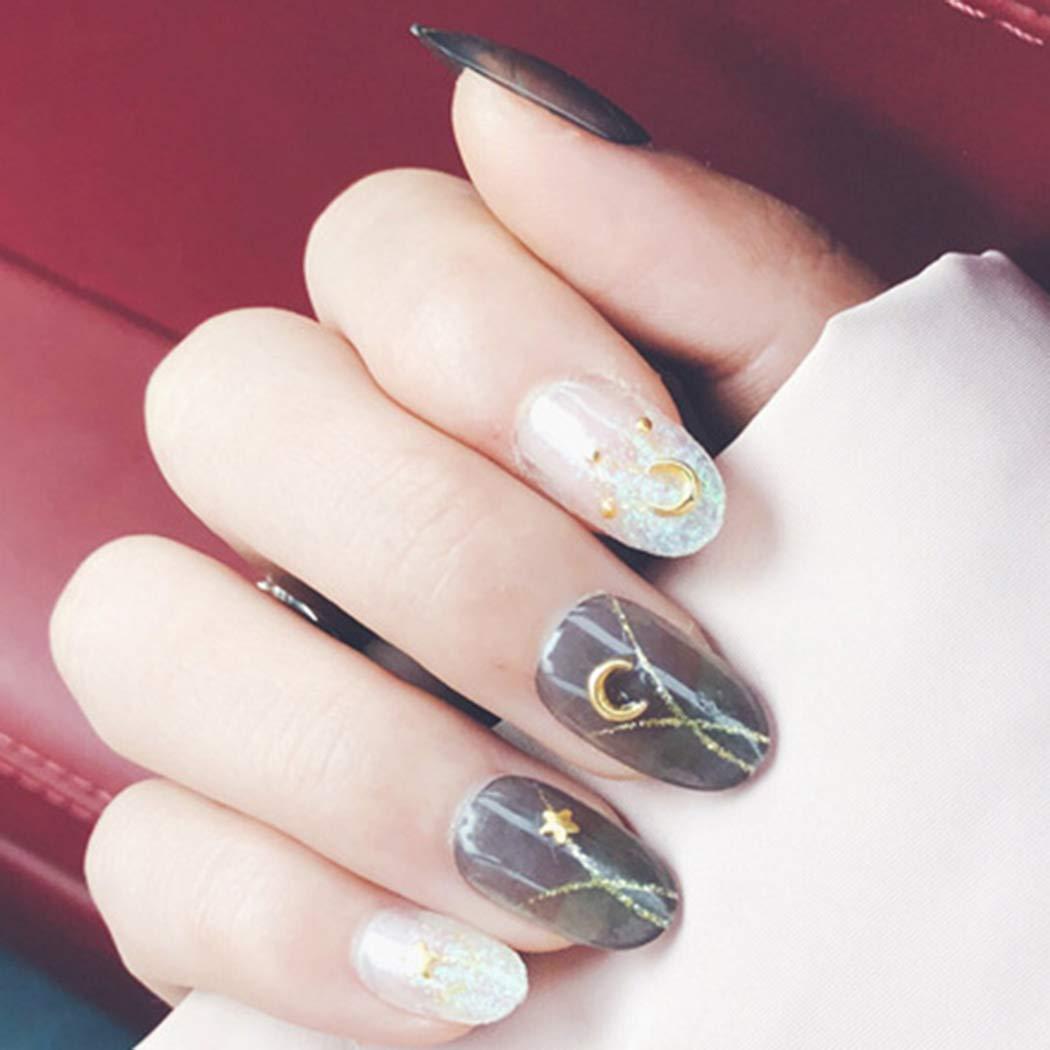 Sethexy Glossy False Nails chic Moon Star Short Full Cover Acrylic 24Pcs Fake nails for Women and Girls