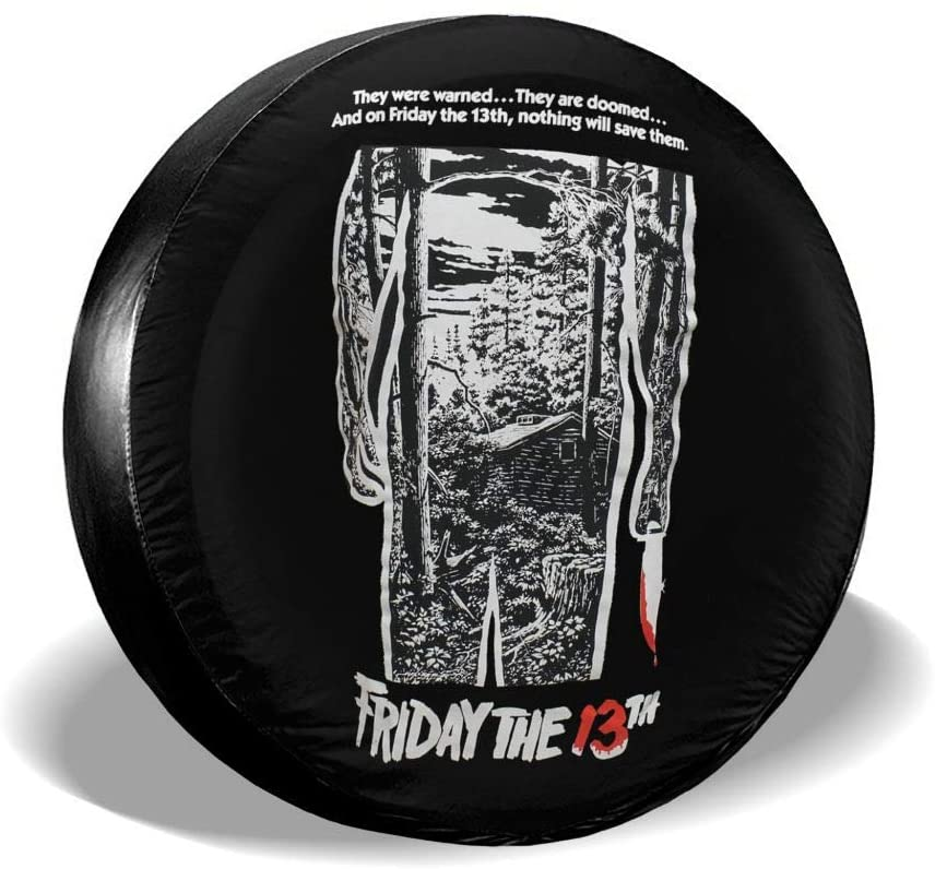 Friday The 13th Movie Poster Spare Tire Cover Waterproof and Dustproof Tire Protection 14-17 (in)