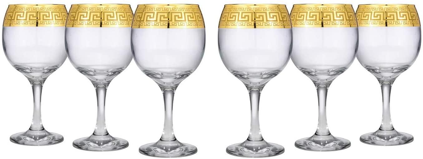 Crystal Glass Wine Goblet Steam Glasses 6-pc, Greek Key, Hand Blow