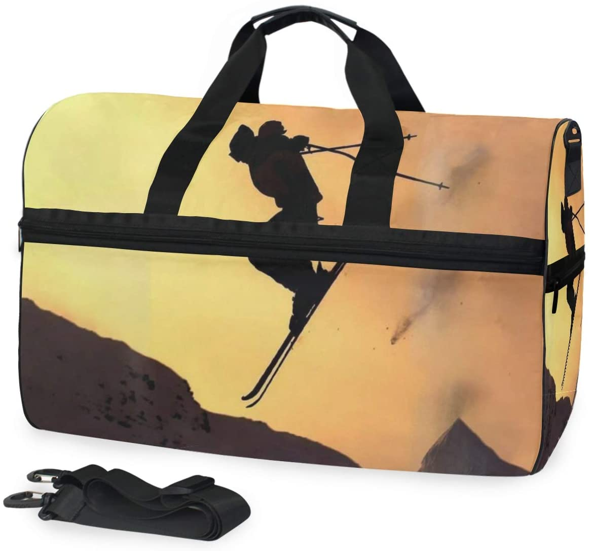 SLHFPX Duffle Bag Alpine Skiing Gym Bag with Shoe Compartment Sport Bag for Men Women