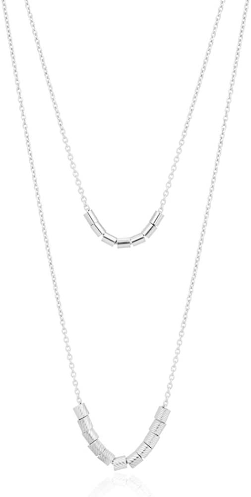 Vanbelle Sterling Silver Jewelry Double Layered Beaded Necklace with Rhodium Plating for Women and Girls