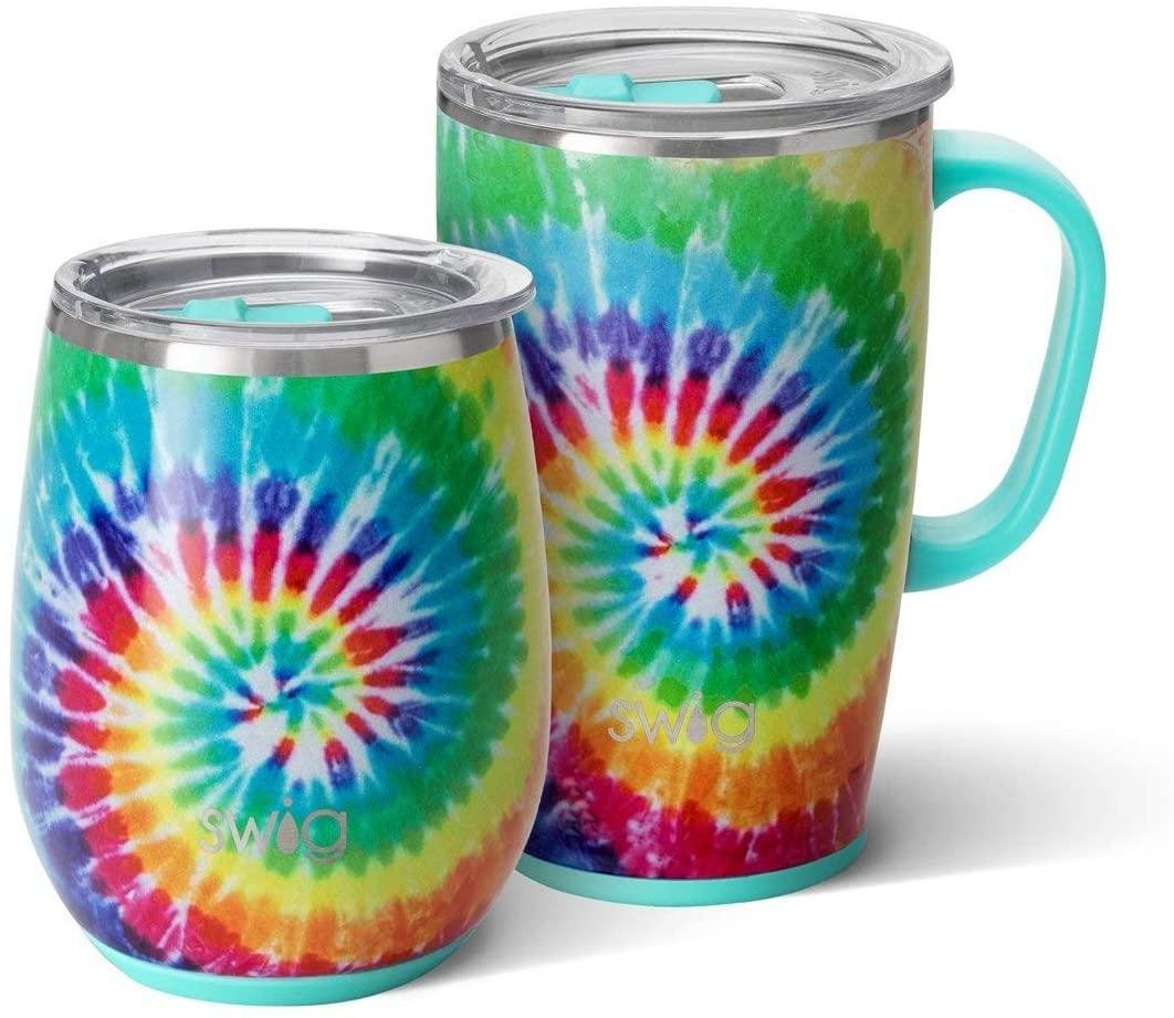 Swig Life Swirled Peace AM+PM Set - (1) 18oz Travel Mug + (1) 14oz Stemless Wine Tumbler