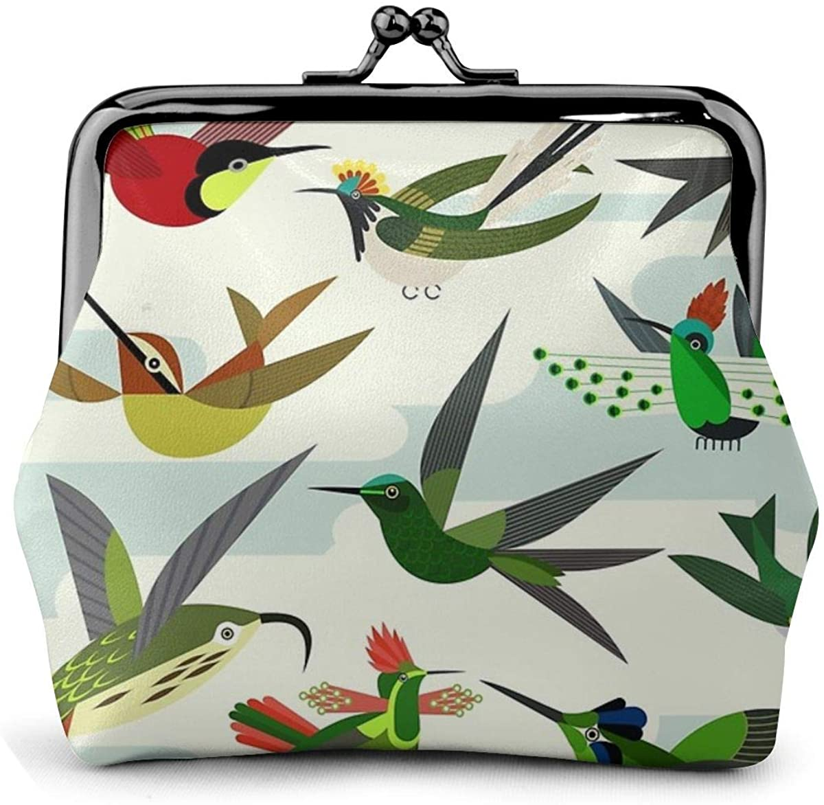 Hummingbirds After Haekel Coin Pouch Leather Change Purse Kiss Clasp Lock Mini Cosmetic Makeup Bags for Women and Girls