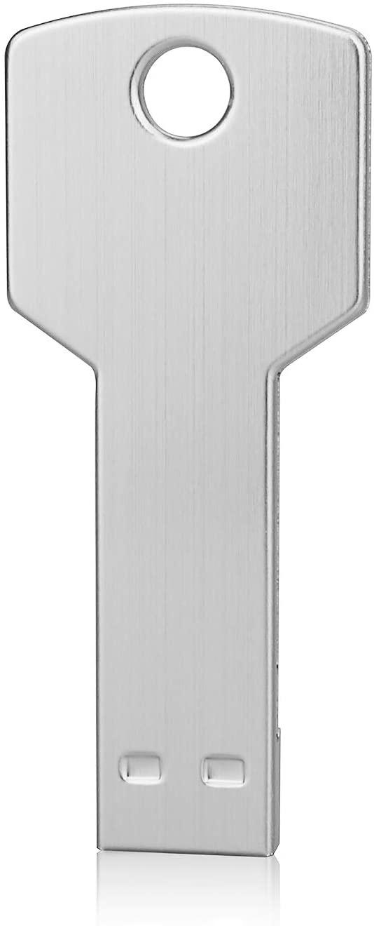 64G Key Shape USB Flash Drive, K&ZZ Metal Thumb Drive USB2.0Flash Disk Memory USB Stick Expansion Disk- Silver