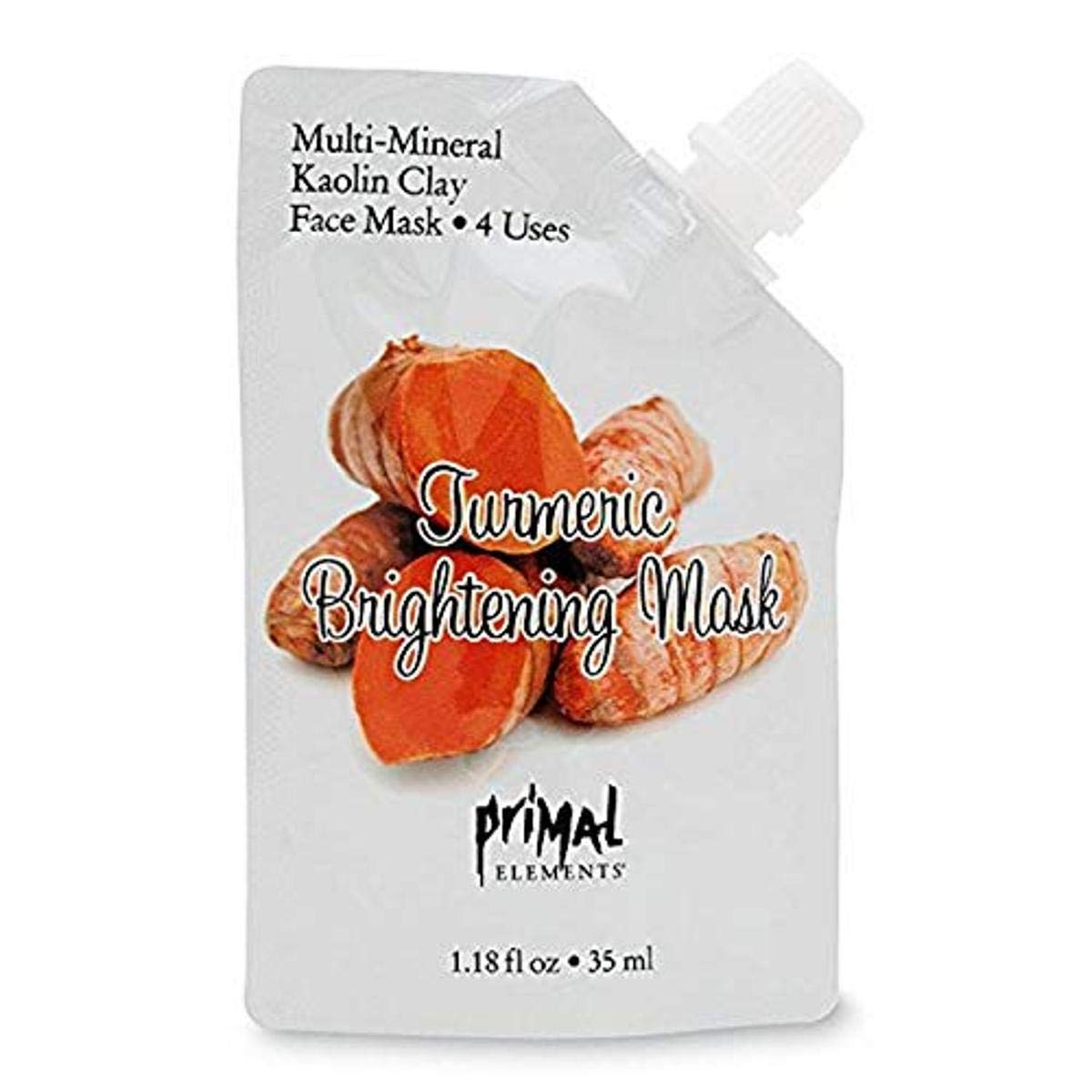 Primal Elements Face Mask, Clay Mud Facial Treatment, Reduce Pores & Treat Blackheads, Multi-Use Package, 1.18 oz - Turmeric Brightening