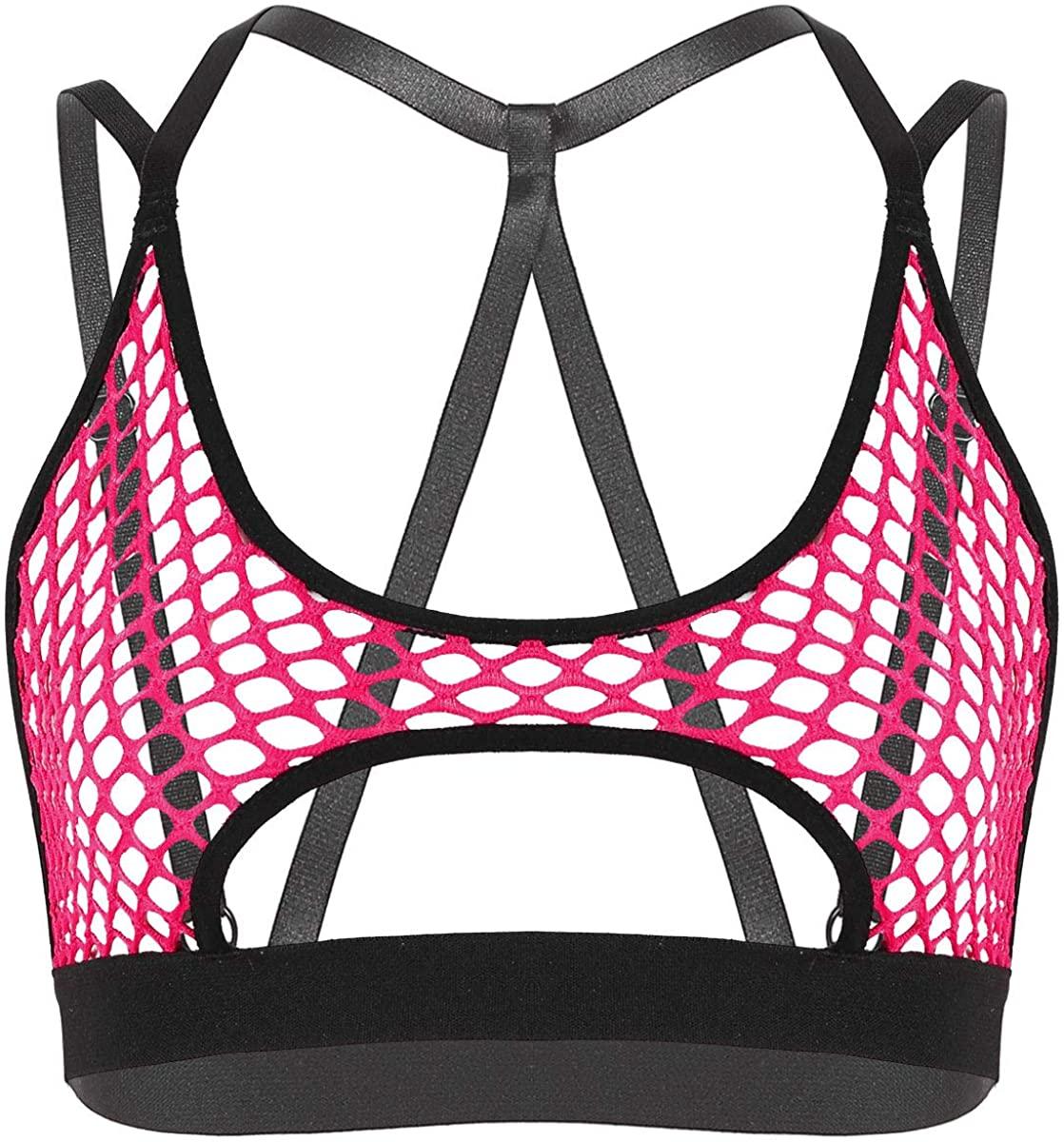 Alvivi Women's Strappy Fishnet Mesh Bra Camisole Halter Neck Cut-Out Stretchy Crop Tops Swimwear