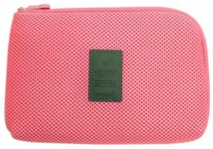 Qingsun Travel Cosmetic Pouch Organizer Bag Travel Case for Small Electronics and Accessories Battery Charger Case(Pink)