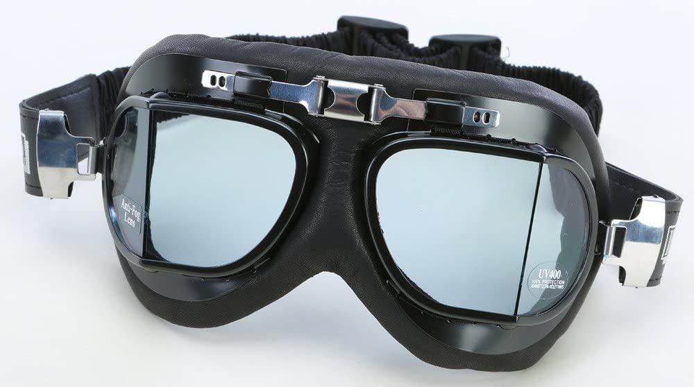 Emgo Classic Split Lens Leather Cushion Goggles Black/Clear Lens (Black, OSFM)