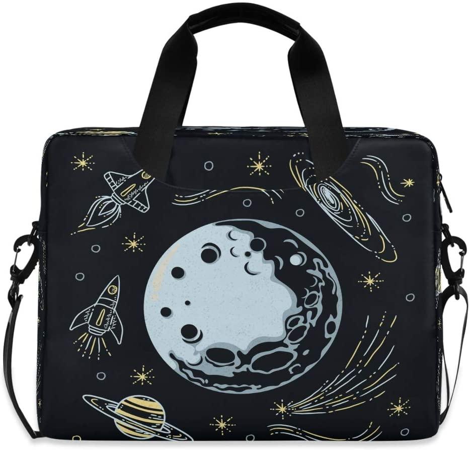 Laptop Bag Briefcase Shoulder Bag - Galaxy Moon Spaceship 15.6 Inch Tote Bag Laptop Messenger Shoulder Bag Case Notebook Bag, Great to School, Office