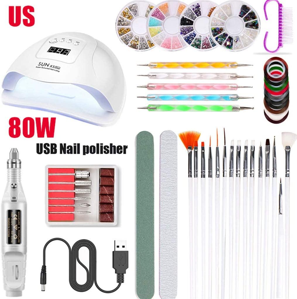 minansostey Nail Art Tool 80W UV LED Nail Polish Dryer Lamp Electric Grinder Polisher Nail Brush Dotting Painting Pen Manicure Set