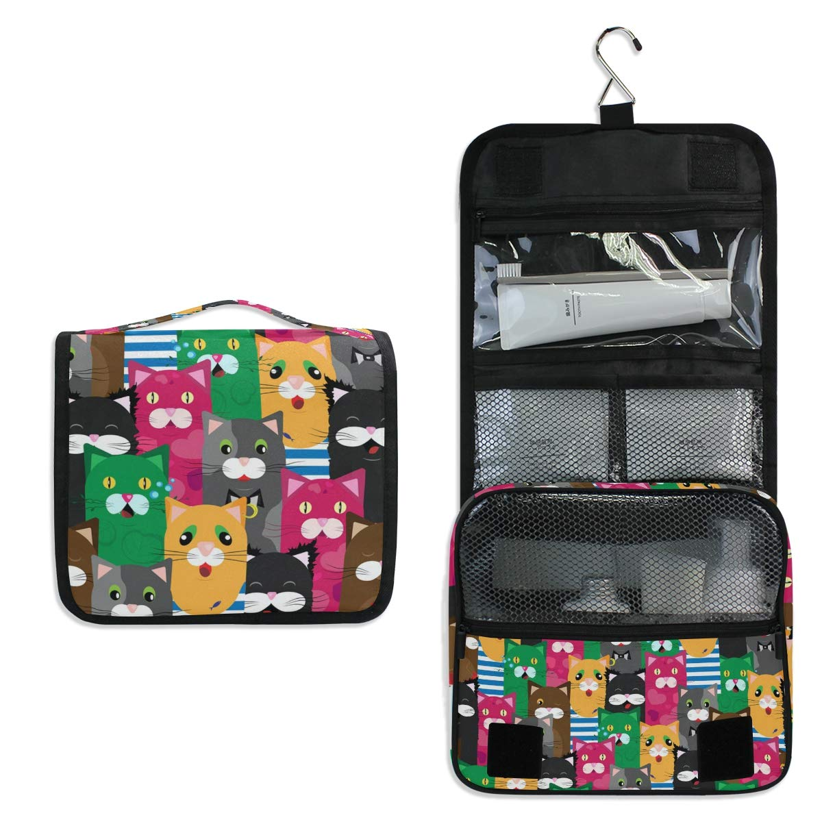 Hanging Travel Toiletry Bag - Cute Colored Cats Waterproof Cosmetic Bag Portable Makeup Pouch for Girls Men Women