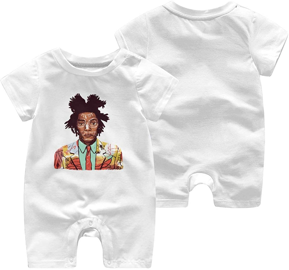 5husihai Jean Michel Basquiat 1-24 Months Boy Girl Baby Short Sleeve Creeper Jumpsuit White