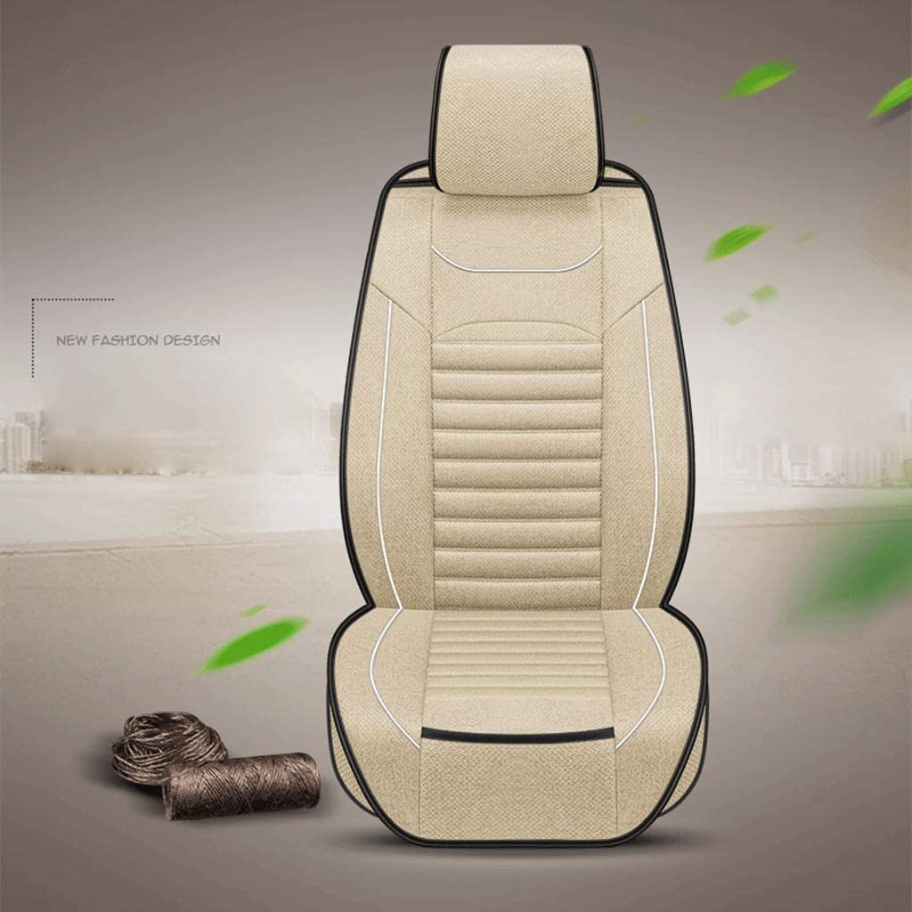 GXDHOME Car Seat Cover Linen Car Seat Cushion Four Seasons Universal Seat Cover Non-Slip Car Pad Car Seat Protector Mat Automotive Interior (Color : Beige)