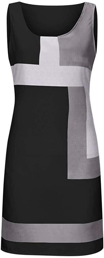 WENOVL Summer Dresses,Women Casual Shift Geometric Print Dress O-Neck Sleeveless Mini Dresses