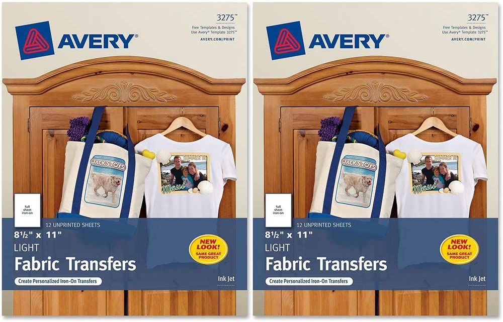Avery : Personal Creations Inkjet Light T-Shirt Iron-On Transfers, White, 12 Sheets/Pack -:- Sold as 2 Packs of - 12 - / - Total of 24 Each