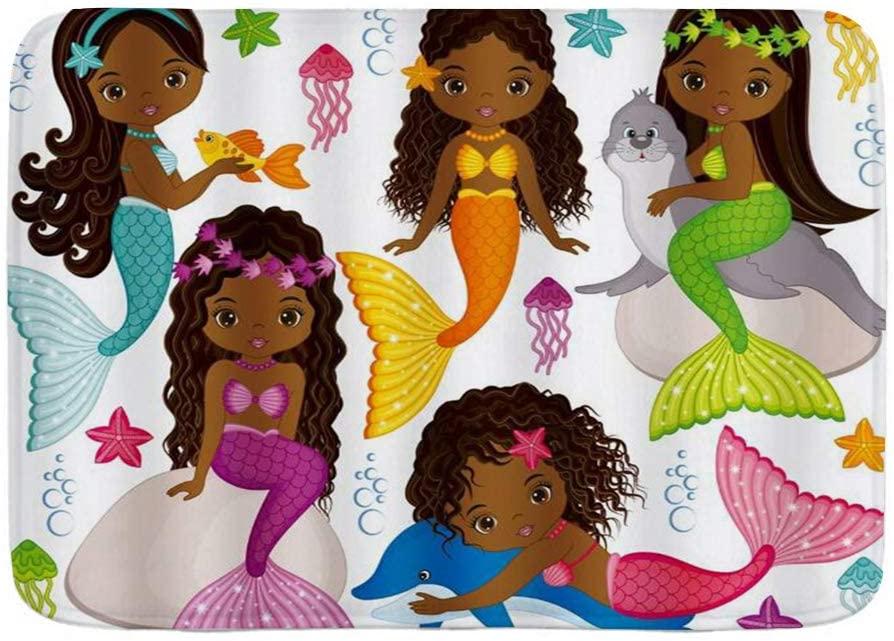 COVASA Bath Mat Rug Black Girls Cute Cartoon Mermaid Dolphin Seelowe Colorful Kid Fish Starfilsh,Plush Bathroom Decorate Mats with Non Slip Backing,29.5 X 17.5