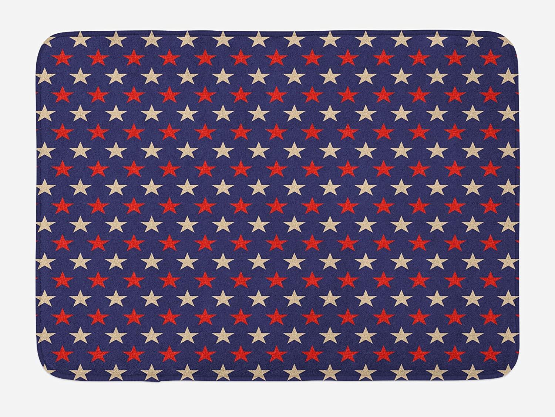 Ambesonne USA Bath Mat, Vintage Patriotic True Blue Home Country My Land Birthday Retro Pattern, Plush Bathroom Decor Mat with Non Slip Backing, 29.5