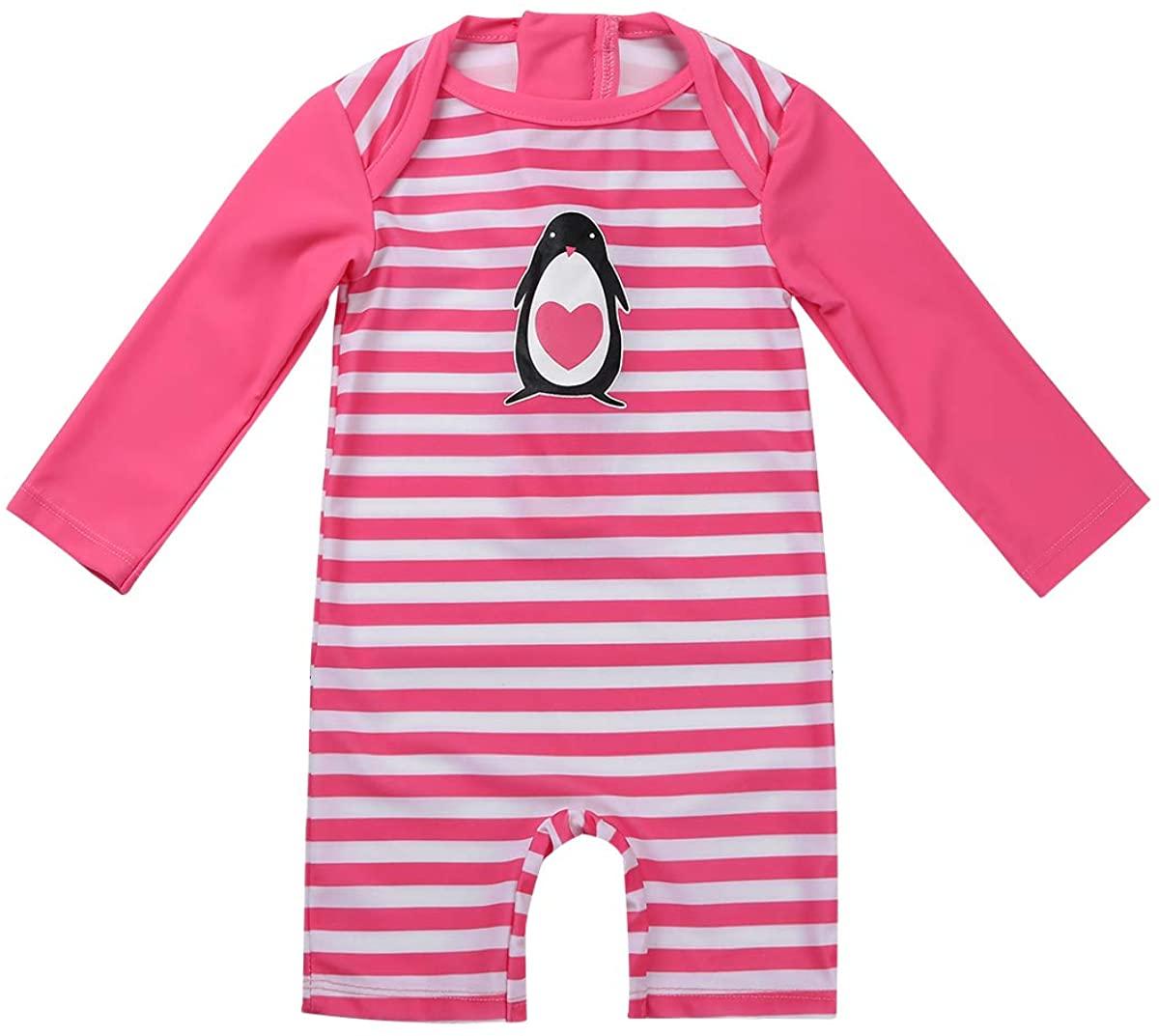 Agoky Baby Girls One Piece Striped Zip Rash Guard Swimsuit Sun Protection Swimwear Wetsuit UPF 50+
