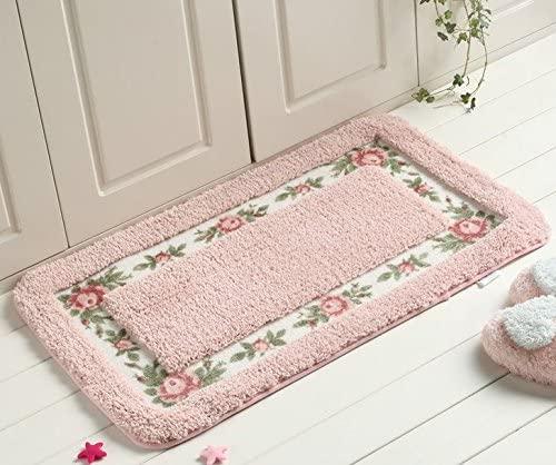AnnyMart Pretty Floral Rural Style Romantic Rose Flower Rug Shaggy Area Rugs Soft Non-Slip Doormat Floor Mat Bath Mat Bathroom Shower Rug Bedroom Living Room Carpet,4060cm (Nice Pink)