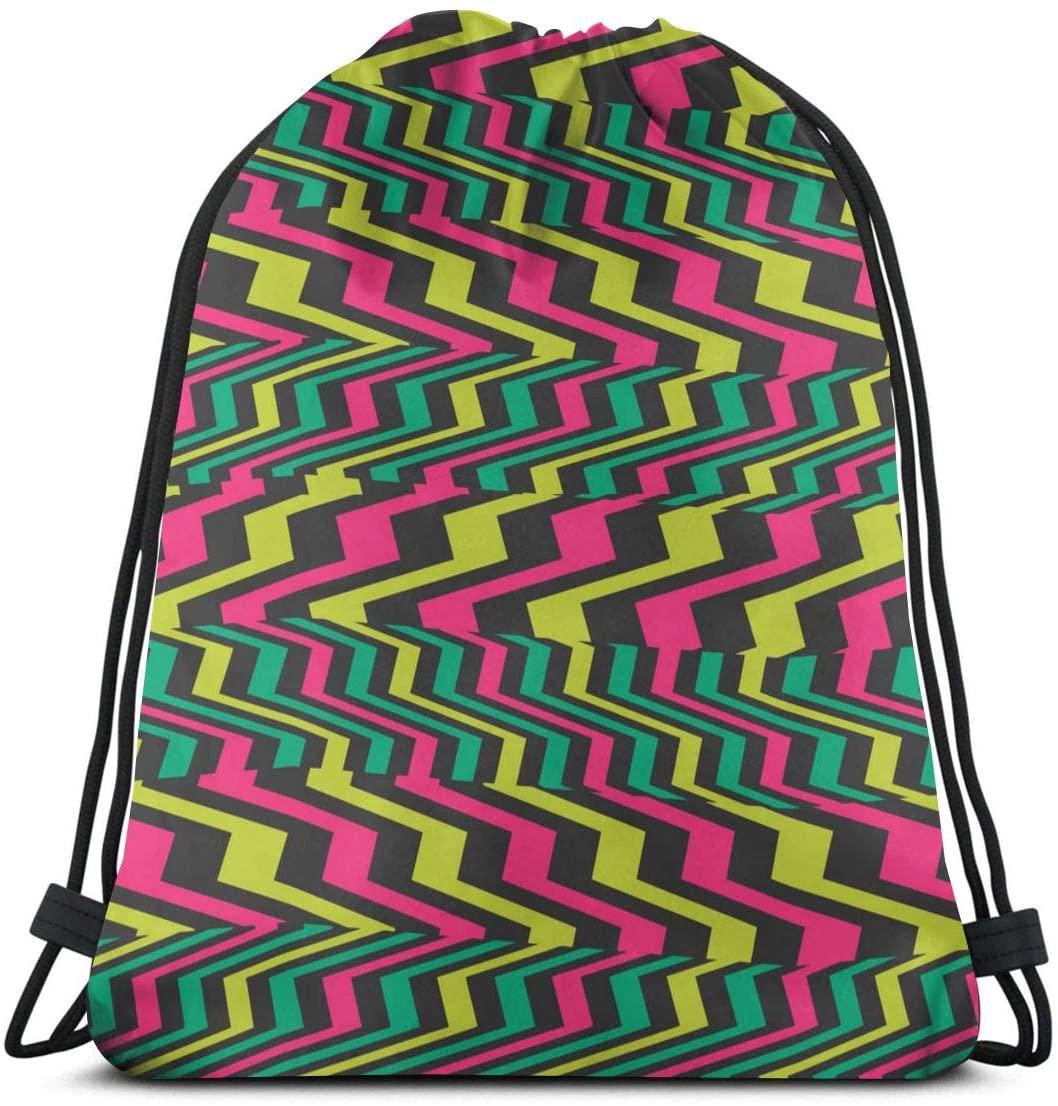 Striped Geometric Abstract Piano Keys Colorful Unisex Home Gym Sack Bag Travel Drawstring Backpack Bag