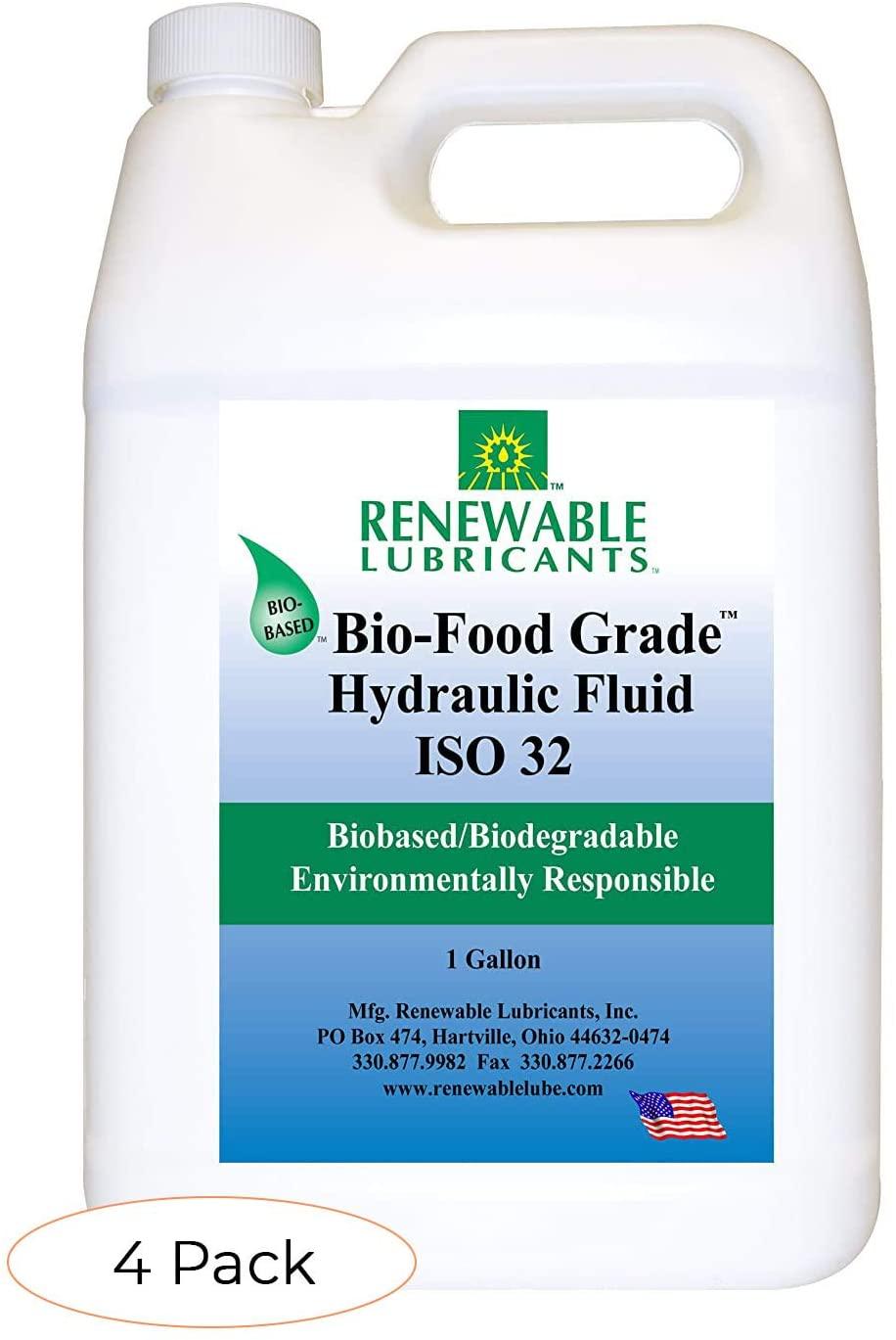 Renewable Lubricants Bio-Food Grade ISO 32 Hydraulic Fluid, 1 Gallon Jug (87123), Yellow (Fоur Расk)